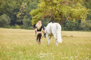 Spaziergänge durch Wald und Flur mit dem Pferd an der Hand sind eine schöne Abwechslung zum Reitalltag