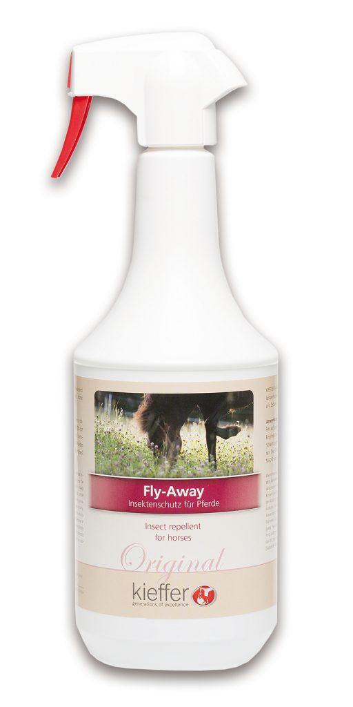 Das Fly Away Spray von Kieffer mit Extrakten aus Eukalyptus und Minze bietet Schutz vor Fliegen und anderen lästigen Insekten